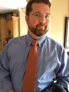 Brandon L. Blankenship wearing Anna's striped tie