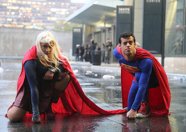 Superman and Supergirl in NY